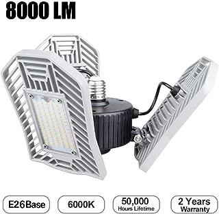 Garage Lights, 8000LM Trilight 6000K LED Garage Lights 80W Triple Grow Lights E26/E27 LED Garage Ceiling Light, LED Shop Lights for Garage, Basement, Workshop, Barn, Warehouse