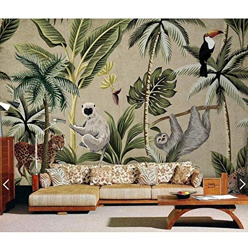 Southeast Asia Toucan Monkey Tropical Wallpaper Mural,Living Room Painted Contact Paper Murals,Wall Paper 3D 280 cm (W) x 180 cm (H)