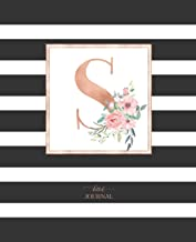 Dotted Journal: Dotted Grid Bullet Notebook Journal Black and White Stripes Rose Gold Monogram Letter S (7.5 X 9.25) for Women Teens Girls and Kids