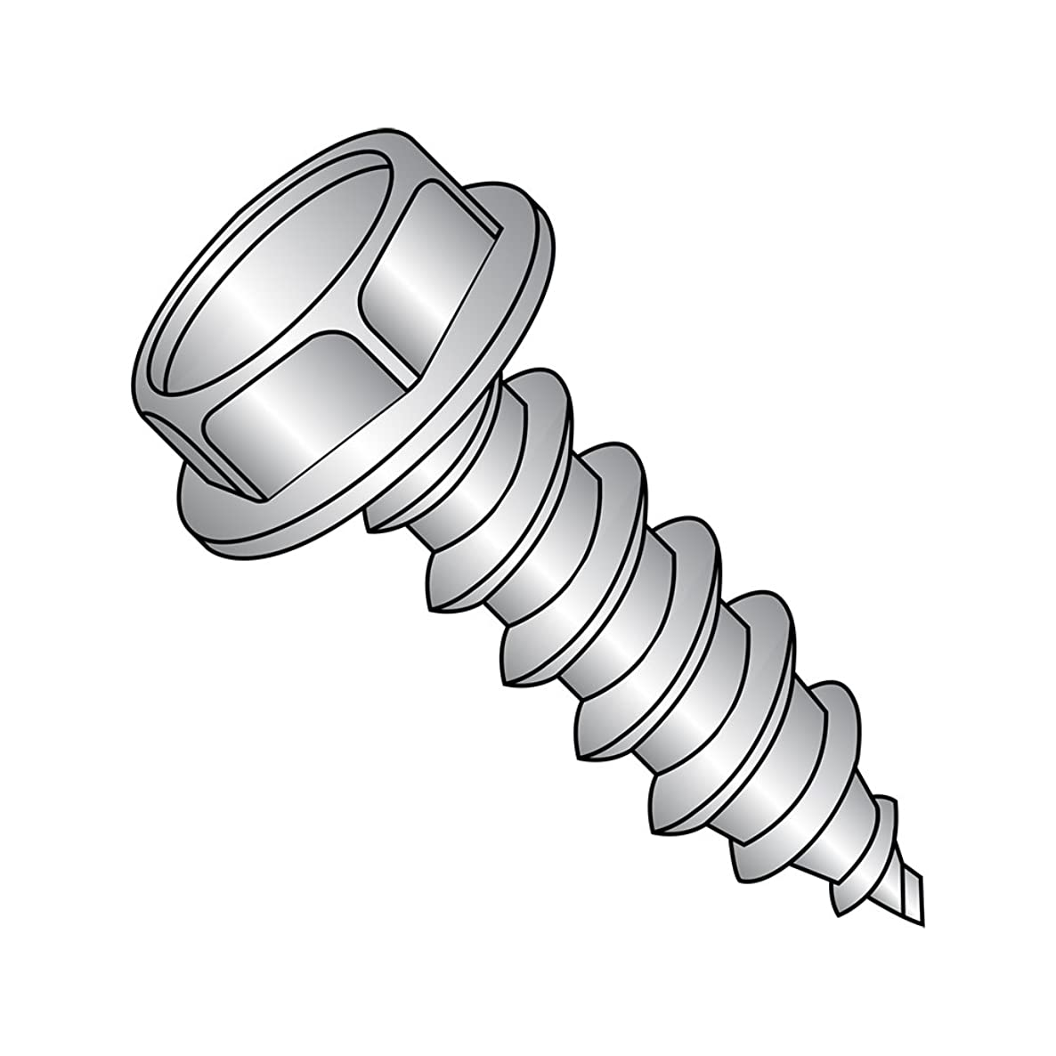 18-8 Stainless Steel Sheet Metal Screw, Plain Finish, Hex Washer Head, Hex Drive, Type A, #6-18 Thread Size, 3/8