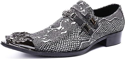 XWDQ Chaussures d'affaires pour Homme Chevelu Oxford Fashion Tide Populaires Chaussures en Cuir Européennes et Américaines pour Hommes