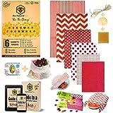 BeeNatural Lot de 6 emballages en cire d'abeille réutilisables écologiques pour cadeaux - Sac en maille en coton bio - Livre électronique gratuit - Sans déchets - Alternative sans film plastique