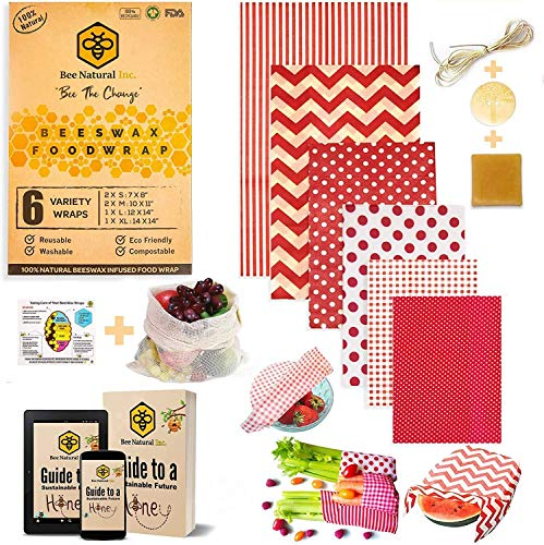 BeeNatural Beeswax Wraps Food Wraps, Set of 6 (+4 Bundles) | Eco Friendly Sustainable Gifts | Zero Waste Cheese and Sandwich Wrappers | Reusable Plastic Free Bowl Covers