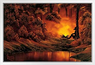 Bob Ross Campfire Art Print Canvas Painting White Wood Framed Poster 14x20
