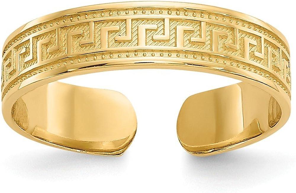 Black Bow Jewelry Greek Key Toe Ring in 14K Yellow Gold