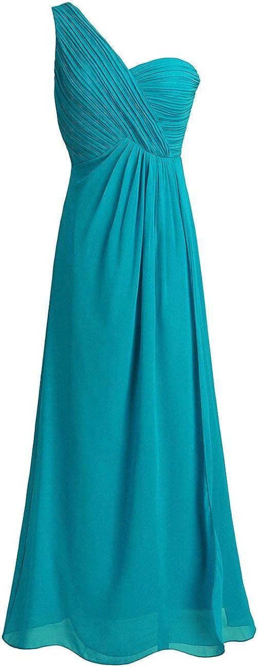 TiaoBug Women's Chiffon One-Shoulder Bridesmaid Max 80% OFF Super sale Dress Slit Split