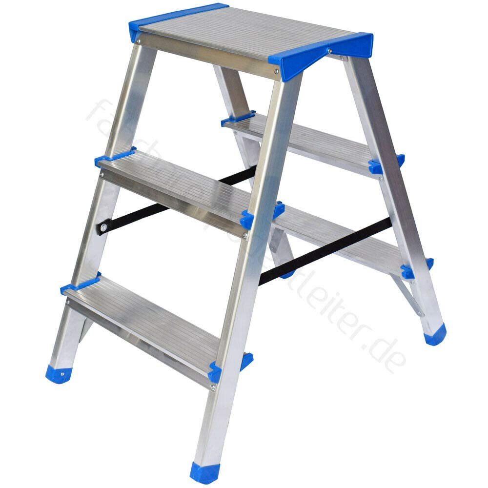 Escalera de aluminio escalera ambos lados, 2 x 3 peldaños, 150 kg de carga, certificado TÜV): Amazon.es: Bricolaje y herramientas