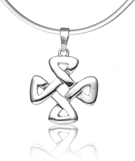 Chuvora 925 Sterling Silver Celtic Knot Strength Pendant Necklace, 18 inches - Nickel Free