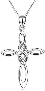 Celtic Knot Cross Necklace,Celtic Cross Dangle Earrings 925 Sterling Silver Polished Religious Infinity Love Irish Celtics Jewelry for Women Girls