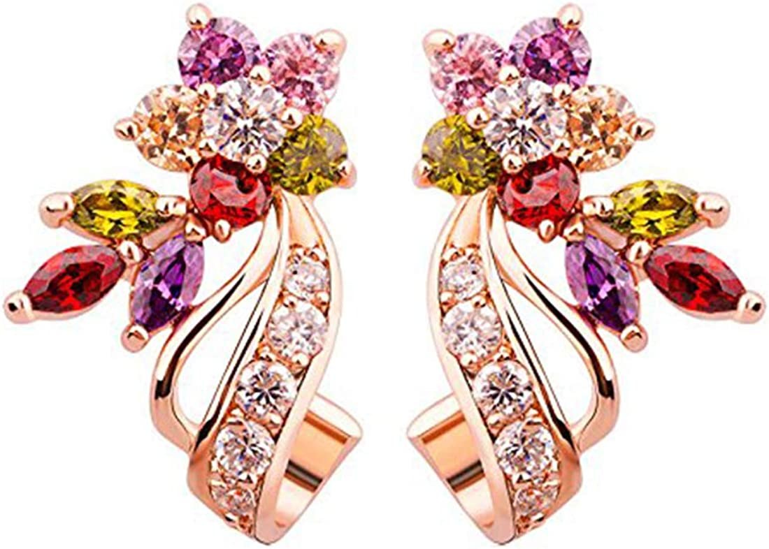 Florets Love Curvacious Swiss Cubic Zirconia 18K Rose Gold Plated Clip-On Earrings for Girls and Women by YELLOW CHIMES