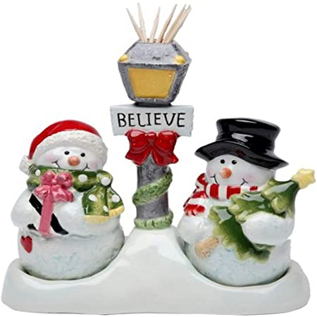 Cosmos Gifts Snowman Salt and Pepper Set/Toothpick Holder