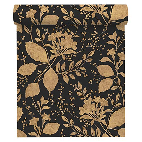 A.S. Création Vliestapete Memory 3 Tapete floral 10,05 m x 0,53 m metallic schwarz Made in Germany 329863 32986-3