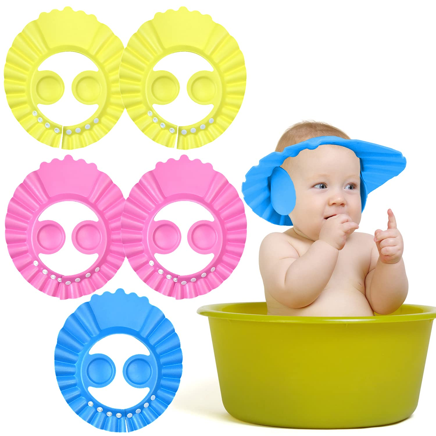 NEPAK 6PCS 3 Color Adjustable Bath Shampoo Cap,Baby Shower Cap,Adjustable Children's Sun Hat,Children's Shampoo Shield Hat with Ear Protection,Used for Baby Bath and Shampoo Safety
