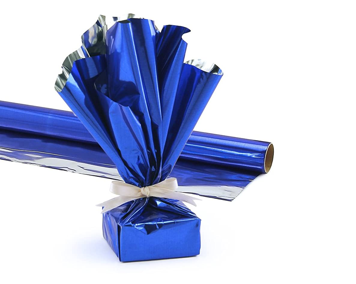 Hygloss Products Mylar Gift Wrap Roll - Great for Gift Bags, Baskets – 24 Inch x 8.3 Feet, Blue