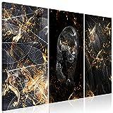 decomonkey Bilder Abstrakt schwarz Gold 90x60 cm 3 Teilig