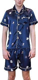 Men's Sleepwear Short Sleeve Lapel Printed Pajama Set Men Comfortable Sizes Fashion Vintage Breathable Comfortable Soft Si...