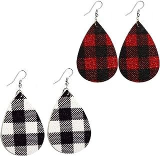 2Pairs Plaid Leather Earrings for Women Handmade Lightweight Teardrop Dangle Faux Leather Statement Earrings for Girls