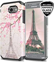 TJS Case for Samsung Galaxy J3 Emerge/J3 Prime/Amp Prime 2/Express Prime 2/Sol 2/J3 Mission/J3 Luna Pro/J3 Eclipse, [Tempered Glass Screen Protector] Hybrid Shockproof Phone Armor (Eiffel Tower)