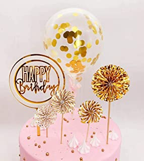 DeMissir Happy Birthday Cake Toppers, A Series of Golden Paper Fans, 2 Layers Acrylic Round Happy Birthday White Golden Cupcake Topper, Confetti Balloon Birthday Cake Supplies Decorations Set-Golden2