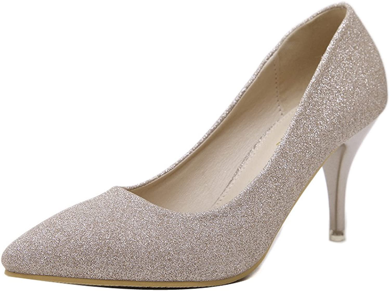 Ladola Womens Bridal Solid Lights High-Heels Pointed-Toe Urethane Pumps shoes