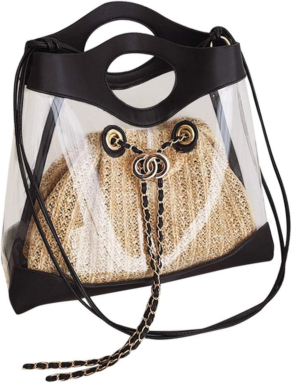 TENDYCOCO Straw Bag Transparent Handle Shoulder Bag Storage Bag Summer for Woman (White)