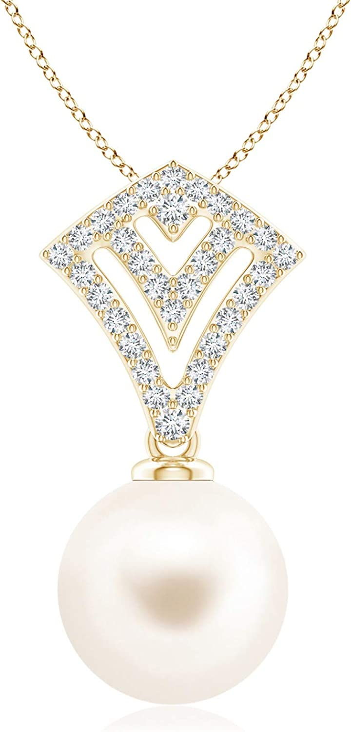 Freshwater Cultured Pearl Ava Pendant Freshw Columbus Mall 11mm New York Mall with Diamonds
