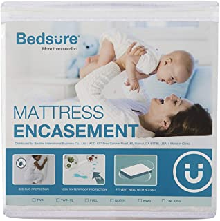 Bedsure Zippered Waterproof Mattress Encasement Twin XL/Twin Extra Long(9-12 inches Deep Pocket) - Fitted Mattress Cover, Mattress Protector - 6 Sided, Breathable, Washable