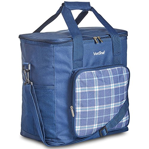 Image of the VonShef Geo Picnic Backpacks (Navy Blue Cooler Bag)