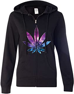 Cosmic Cannabis Space Pot Leaf Galaxy Ladies Zip-Up Hoodie