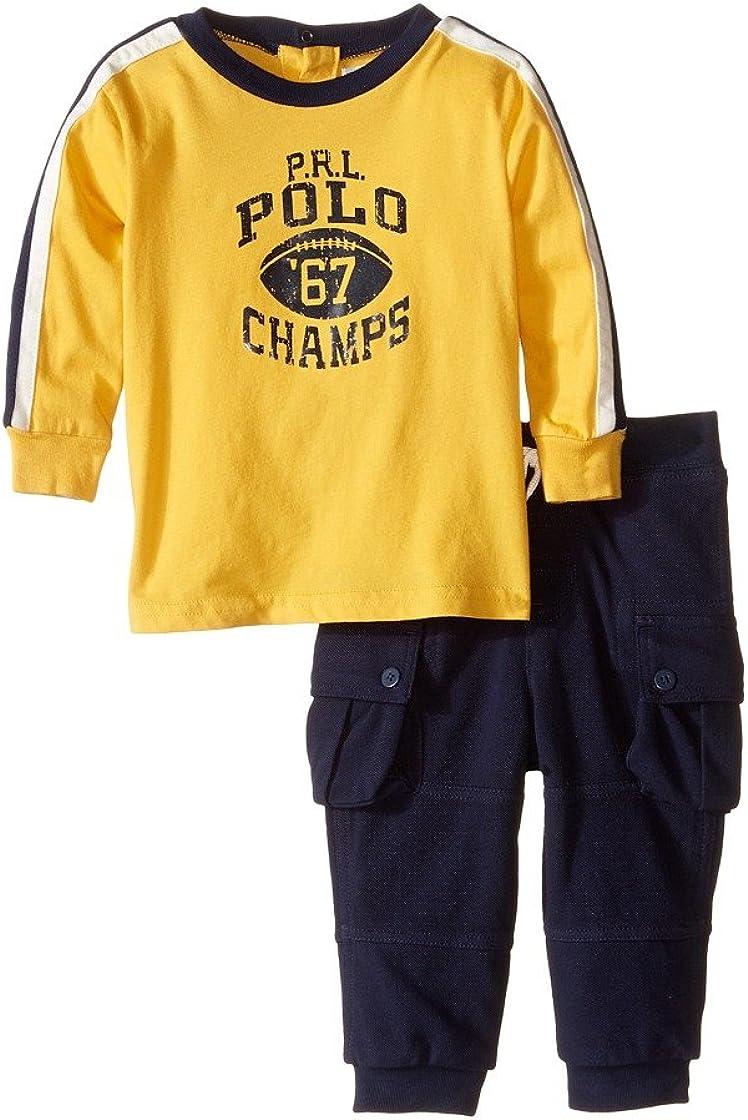 Ralph Lauren Baby Boys' Cotton Tee & Jogger Set- Gold Bugle