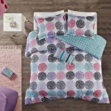 Mi Zone Carly Comforter Set Full/Queen Size - Teal, Purple , Doodled Circles Polka Dots – 4 Piece Bed Sets – Ultra Soft Microfiber Teen Bedding For Girls Bedroom
