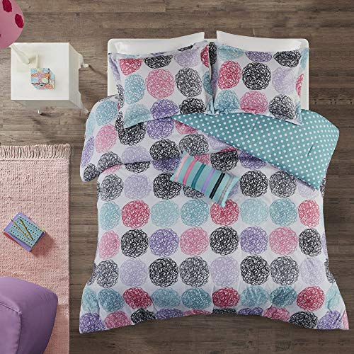 Mi Zone - Carly Comforter Set - Purple - Twin/ Twin XL - Doodled Circles, Polka Dots & Twill Tapes - Includes 1 Comforter, 1 Decorative Pillow, 1 Sham