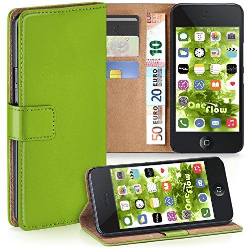 MoEx Premium Book-Case Handytasche kompatibel mit iPhone 5S / 5 / SE (2016) | Handyhülle mit Kartenfach und Ständer - 360 Grad Schutz Handy Tasche, Grün