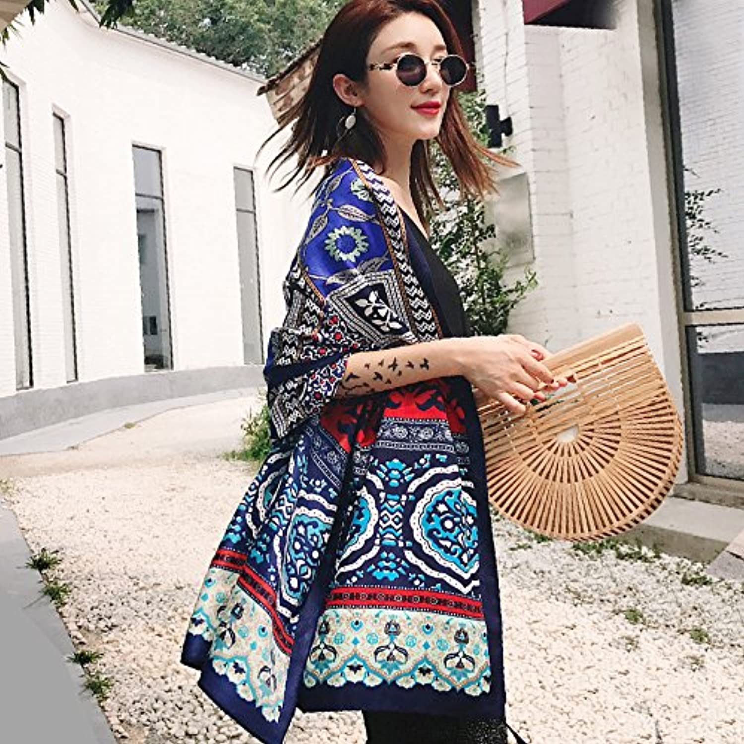 Women's Boho Bohemian Beach Bikini Cover Up Printed Scarf Shawl Wrap