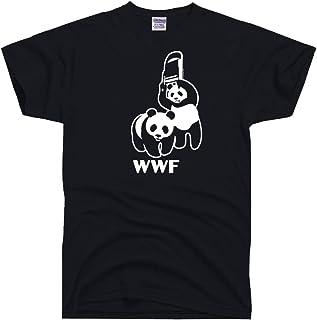 DirtyRagz Men's WWF Funny Panda Bear Wrestling T Shirt Black