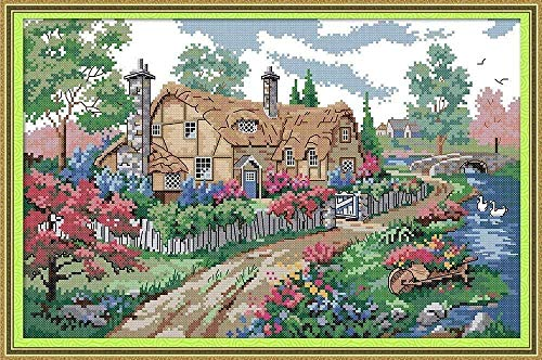 Cross Stitch kit Country House 40x50cm 14CT Cross Stitch kit for Adults and Children DIY (pre-Printed Canvas)
