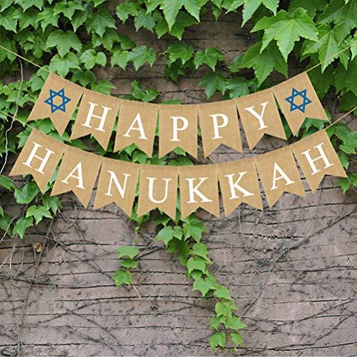 Amosfun Una bandera de budín,una cola de golondrina,un Hanukkah de lino,una fiesta de la casa,un festival de decoración,una bandera.