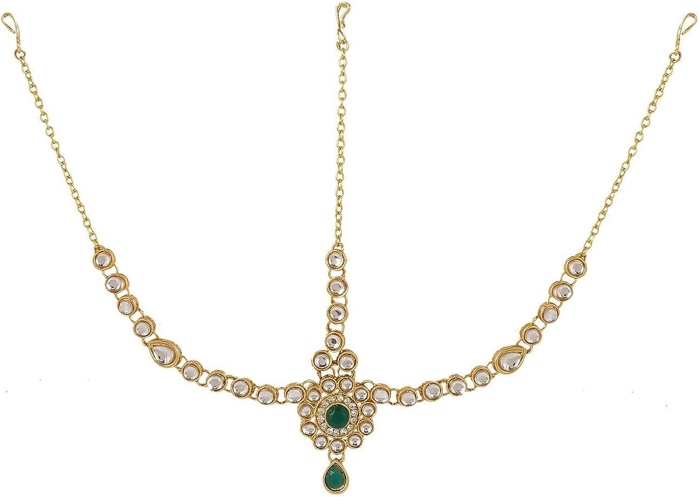 Efulgenz Indian Bollywood Vintage Gold Plated Mang Tikka Crystal Pearl Head Chain Bridal Wedding Jewelry Hair Accessories