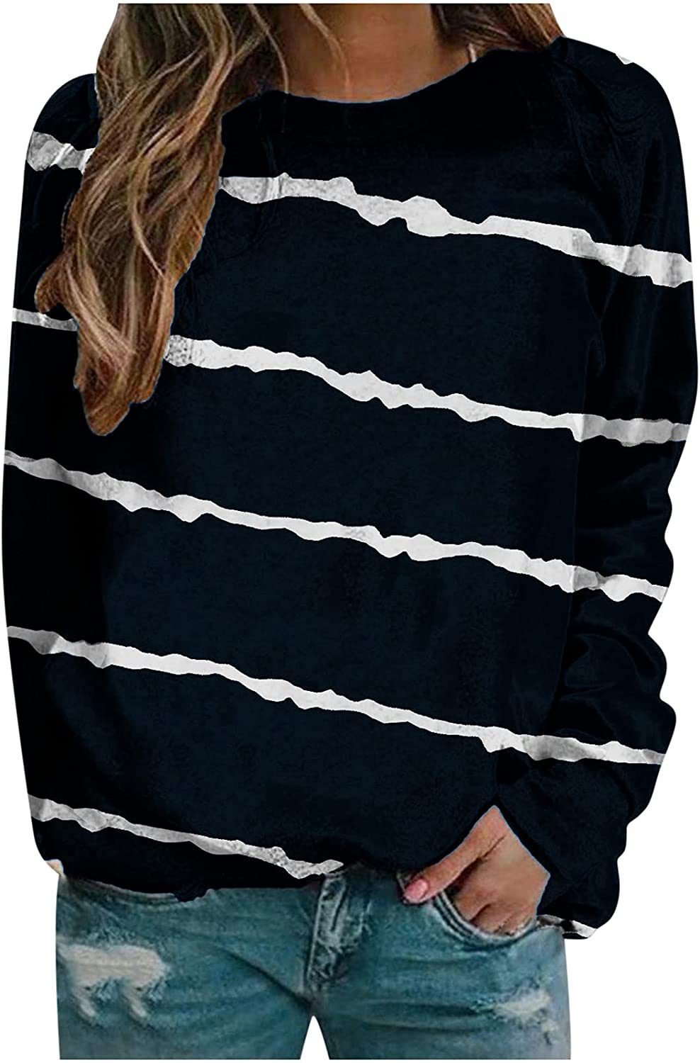 Womens Long Sleeve Tops, Women's Striped Sweatshirts Crew Neck Pullover Casual Long Sleeve Blouse Tops Comfy Shirts