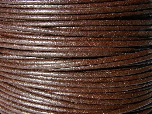 esnado Lederband, Lederschnur, Lederriemen 5 m. Rund 2,0 mm. Braun