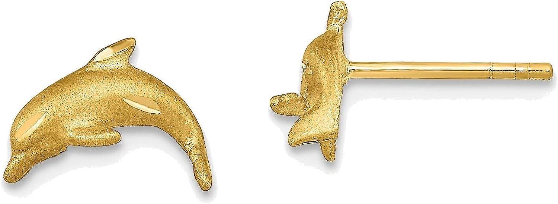 Satin Diamond-cut Dolphin Post Earrings in 14K Yellow Gold