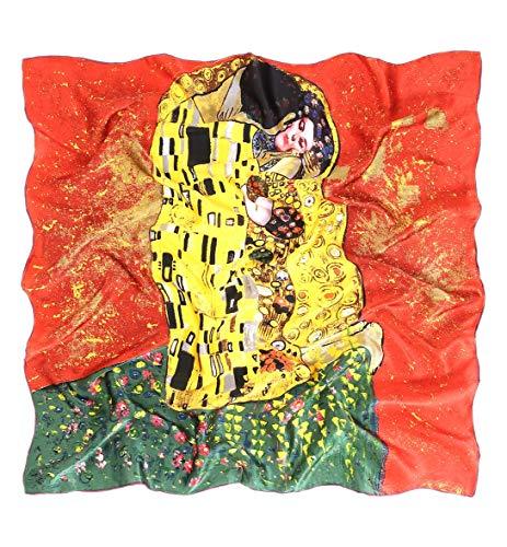prettystern Damen 90cm quadratisch großes Hals-Tuch Kunst-Druck 100% Seide Tuch - Gustav Klimt - Der Kuss Rot P575