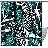 Duschvorhang, grünblaue Blätter, tropische Pflanzen, Badezimmer-Duschvorhang mit Haken, Kinder-Badezimmerdekoration