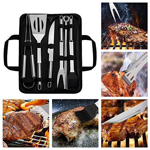 BLNQ Grillbesteck Set, Blusmart Edelstahl mit Tragetasche, Grillzange, Grillwender, Messer, Fleischgabel und Backpinsel, Prefect Geschenk-Kit für Männer 9-teilig