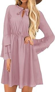 YOINS Sommerkleid Damen Minikleid für Damen Brautkleid Glockenärmel Tshirt Kleid Rundhals Langarm Minikleid Strandkleid Langes Shirt Lose Tunika