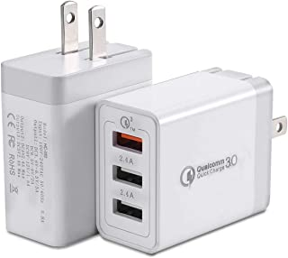 Quick Charge 3.0 Wall Charger, BEST4ONE 30W Multi-Port 3-USB Plug Adaptive Fast Charging Adapter for Samsung Galaxy S10/S9/S8/Plus S7/S6/Edge J7/J5/J3, Note 10/8/9, LG, iPhone iPad, Tablet (2-Pack)