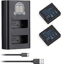 Powerextra - Cargador doble LCD y 2 piezas de repuesto para Panasonic DMW BLG10 para Panasonic Lumix DC GX9 TZ202 TZ96 TZ91 DMC TZ101 TZ81 GF6 GX7 GX80 LX100 S6, etc.
