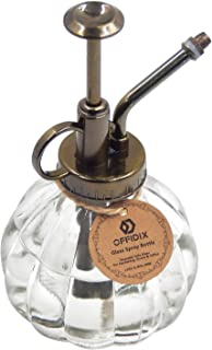 "OFFIDIX Transparent Glass Watering Spray Bottle, 6.3"" Tall Vintage Style Spritzer Bronze Plastic Top Pump One Hand Watering Can Glass Spary Bottle Plant Mister Glass Watering Can Indoor"