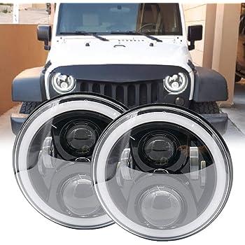 Soyavision - Juego de conversión de faros delanteros LED redondos de 18 cm (7 pulgadas) para Jeep Wrangler JK TJ FJ Hummer H2, camiones, motocicletas, 2 unidades, Negro