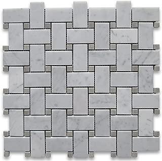 Carrara White Italian Carrera Marble Basketweave Mosaic Tile w/Light Gray Dots 1 x 2 Polished